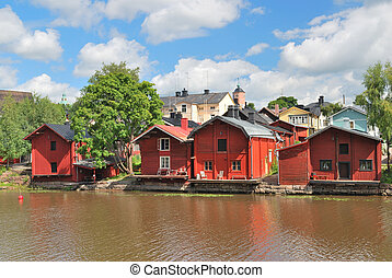 Porvoo, Finland. Old wooden houses on the river