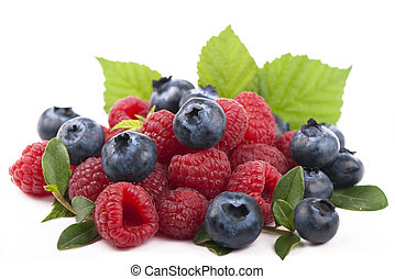 Raspberries and blueberries on white background - forest...