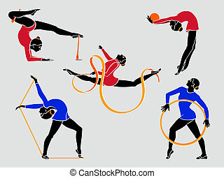 Rhythmic gymnasts with hoop, rope, ball, ribbon and clubs