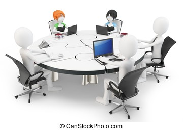 3d man businessman at a round table
