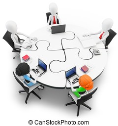 3d man businessman at a round table - 3d man businessman...