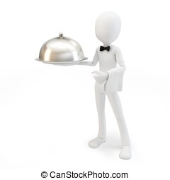 3d man waiter with tray
