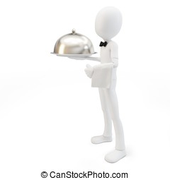 3d man waiter with tray isolated on white