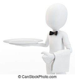 3d man waiter with empty tray isolated on white