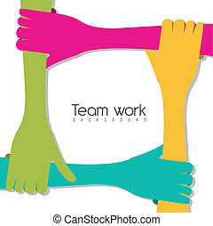 team work - hands of different colors, cultural and ethnic...