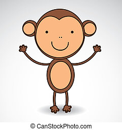Cute monkey - illustration of cute monkey isolated on white...