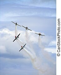 Yak-50 planes in the air - Yak-50 airplanes flying in the...