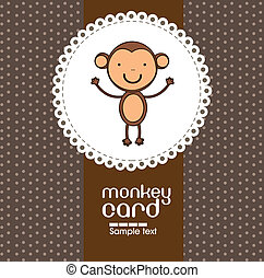 card with cute monkey - Card with cute monkey, vector...