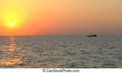 Sunset and fishing boat, Cuba