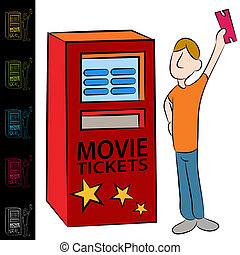 Movie Ticket Kiosk Machine - An image of a man using a movie...