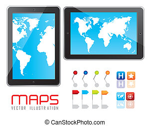 digital tablet - Illustration of digital tablet with maps...