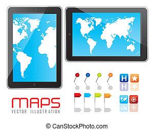 digital tablet - Illustration of digital tablet with maps...
