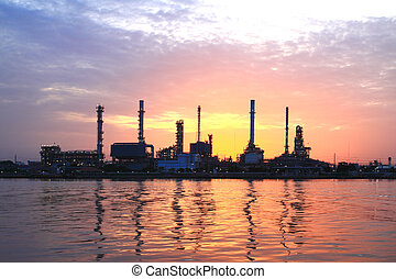 refinery plant area at morning