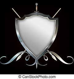 Shield with spears and sword. - Decorative heraldic shield...