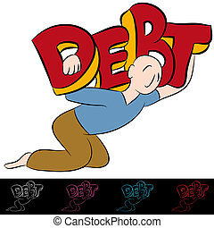Man Carrying Debt - An image of a carrying a heavy debt.