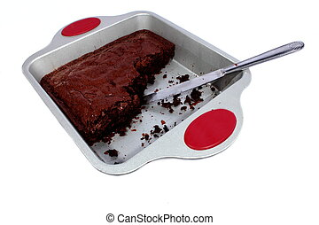 Chocolate Brownie in Pan - Isolated dessert chocolate...