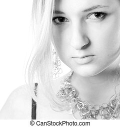 High Key Beauty - Young girl in a dress in the studio on a...