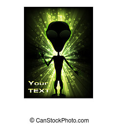 Alien Invasion - Silhouette of an alien/Alien Lights/Visitor...