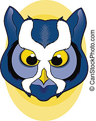 Owl Mascot - Blue Owl Face Illustration
