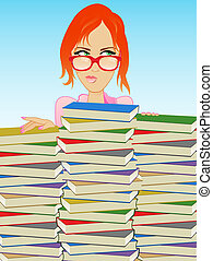 Glasses Girl - Girl Wearing Glasses Behind a Stack of Books