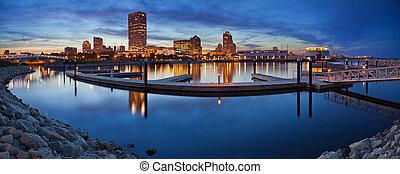 Milwaukee Panorama. - Panoramic image of the Milwaukee...