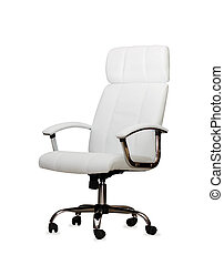 The office chair from white leather Isolated