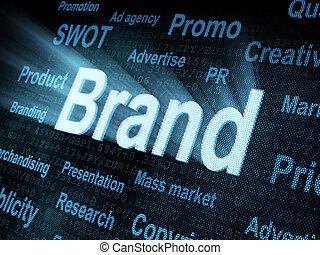 Pixeled word Brand on digital screen 3d render