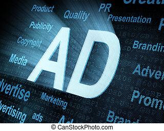 Pixeled word AD on digital screen 3d render