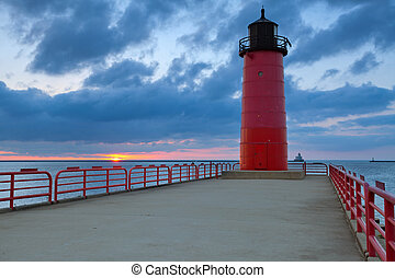 Milwaukee Lighthouse. - Image of the Milwaukee Lighthouse at...