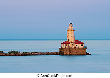 Chicago Harbor Light - Image of the Chicago lighthouse at...
