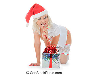Beautiful christmas woman in santa hat and white stockings...