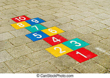 hopscotch - Colorful hopscotch with numbers to ten