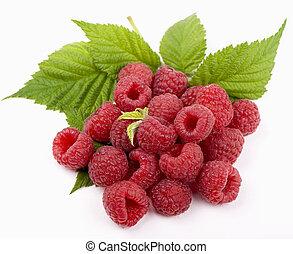raspberry with green leaf