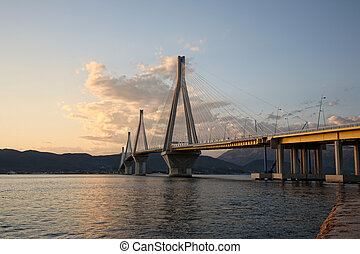 bridge crossing Corinth Gulf - bridge crossing Corinth Gulf,...