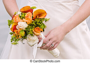 bride and orange bouquet - bride and colorful orange and...