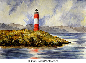 Les Eclaireurs Lighthouse - Watercolor Painting of the Les...
