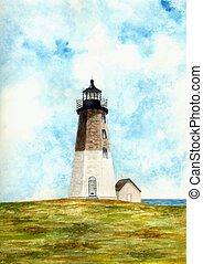Point Judith Lighthouse - Watercolor Painting of the Point...