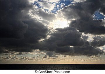 god rays - clouds with god rays on a beautiful cloudscape