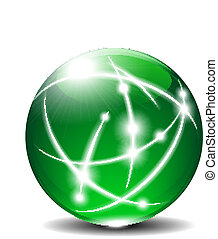 Green Sphere Ball Communication - Energy Globe transparent...