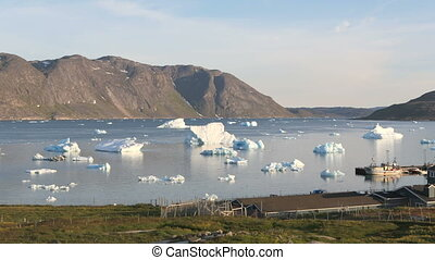 Icebergs outside of Narsaq - Icebergs floating around...