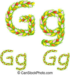 Vector font type letter G made from flower tulip
