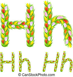 Vector font type letter H made from flower tulip