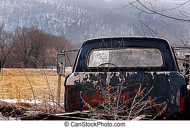 broken pickup truck - old broken down pickup with a cracked...
