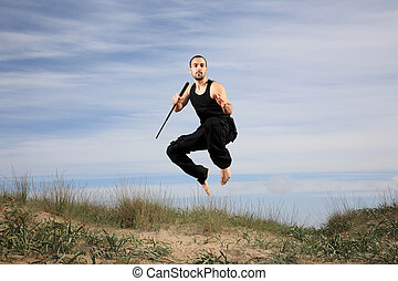 young man from special forces exercising outdoor motion blur