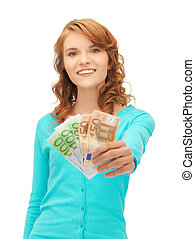 happy teenage girl with euro cash money - picture of happy...
