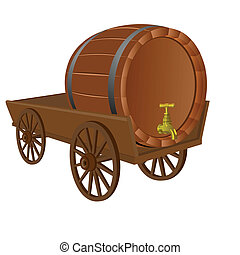 Cart with a keg - Antique vehicle with the barrel The...