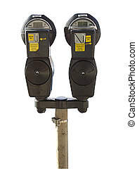 parking meter - isolated parking meter over white back...
