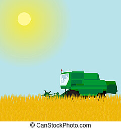 Combine in a wheat field - Agricultural machinery for...