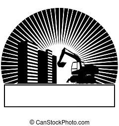 Construction machinery and buildings in the sun. Black and...