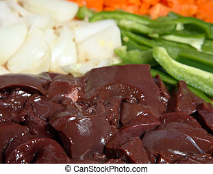 Raw liver and onions, horizontal